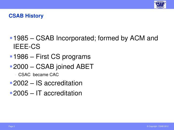 CSAB History