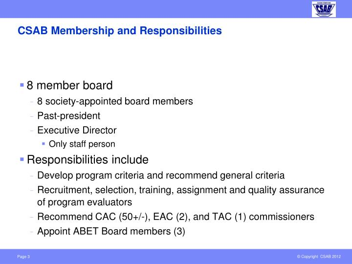 CSAB Membership and Responsibilities