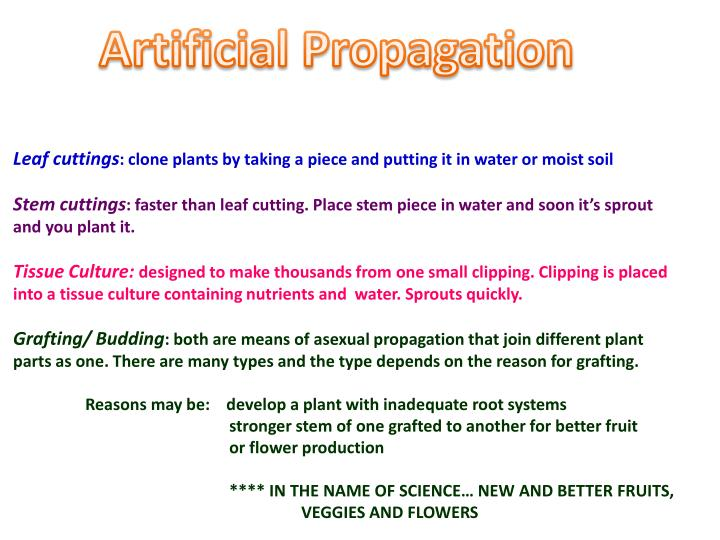 Artificial Propagation
