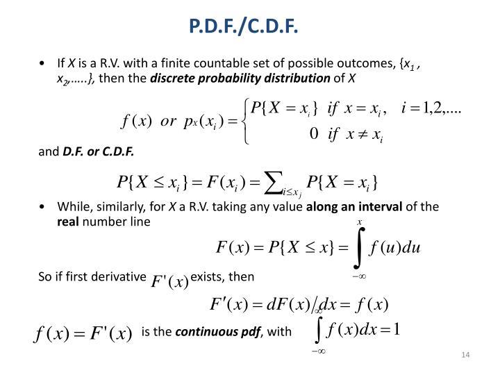 P.D.F./C.D.F.