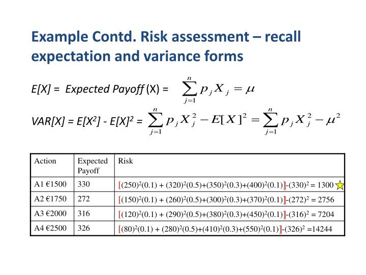 Example Contd. Risk assessment – recall expectation and variance forms