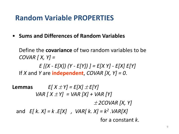 Random Variable PROPERTIES