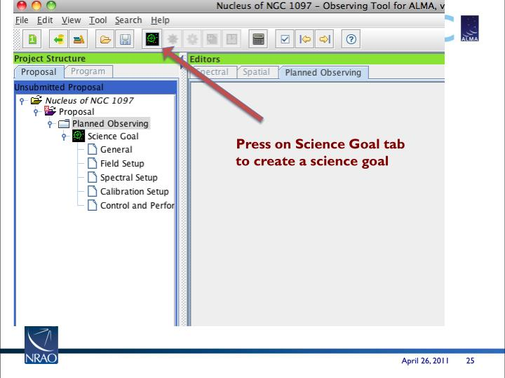 Press on Science Goal tab to create a science goal