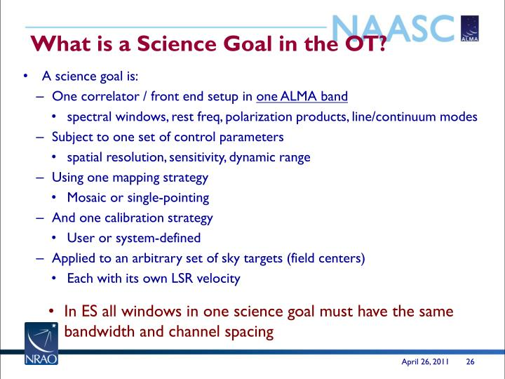 What is a Science Goal in the OT?