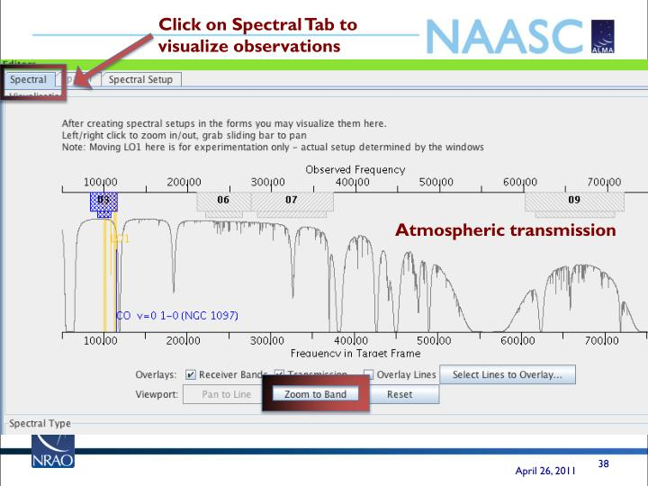 Click on Spectral Tab to visualize observations