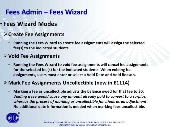 Fees Wizard Modes