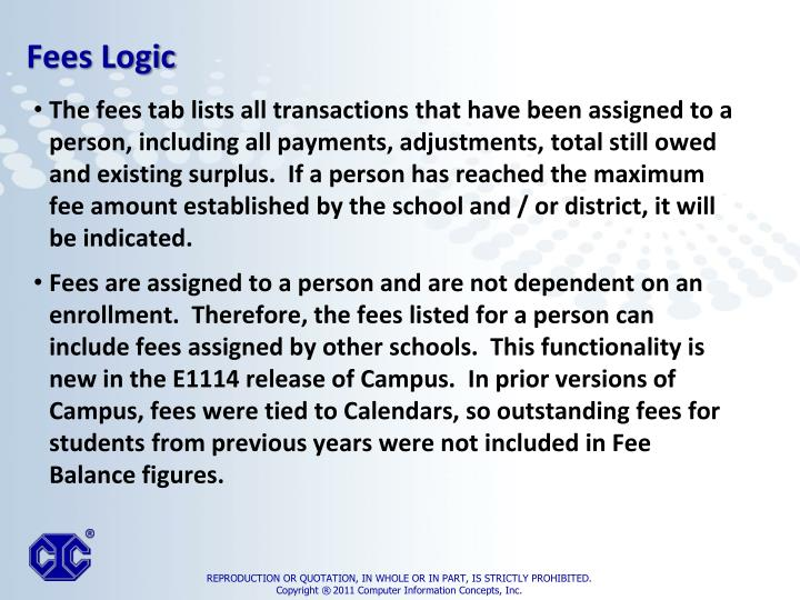 The fees tab lists all transactions that have been assigned to a person, including all payments, adjustments, total still owed and existing surplus.  If a person has reached the maximum fee amount established by the school and / or district, it will be indicated.