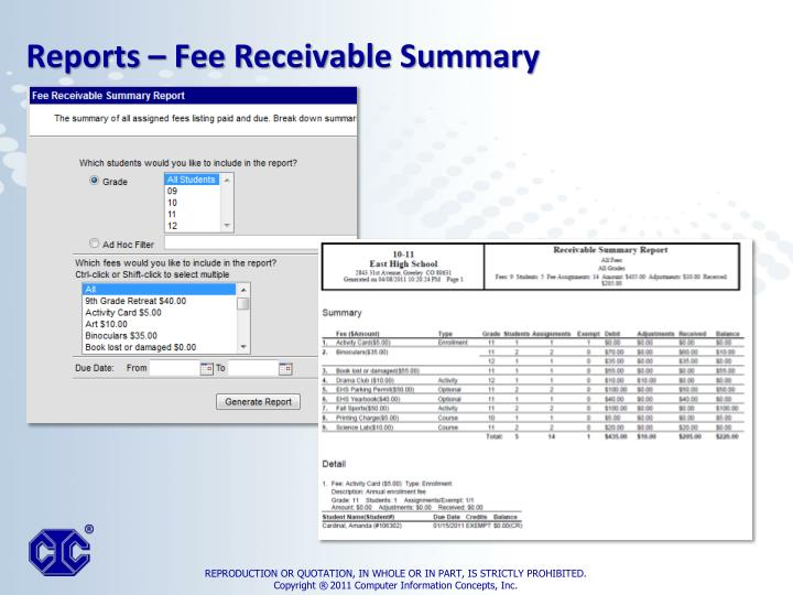 Reports – Fee Receivable Summary
