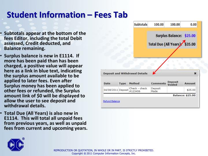 Subtotals appear at the bottom of the fees Editor, including the total Debit assessed, Credit deducted, and Balance remaining.