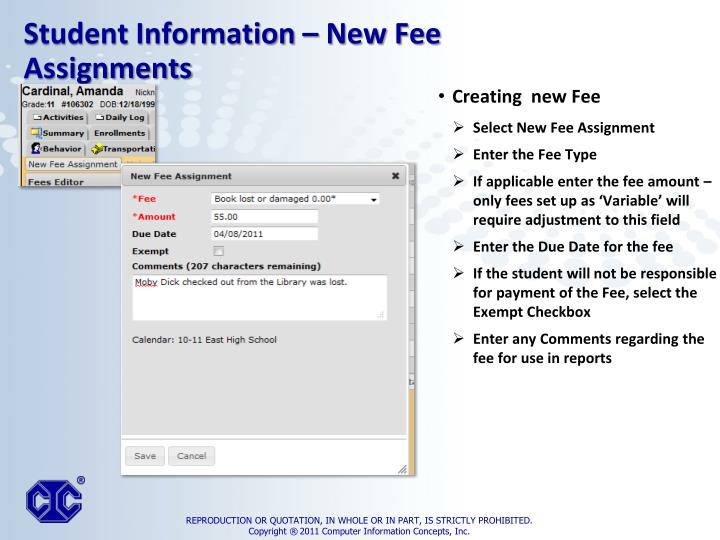 Creating  new Fee