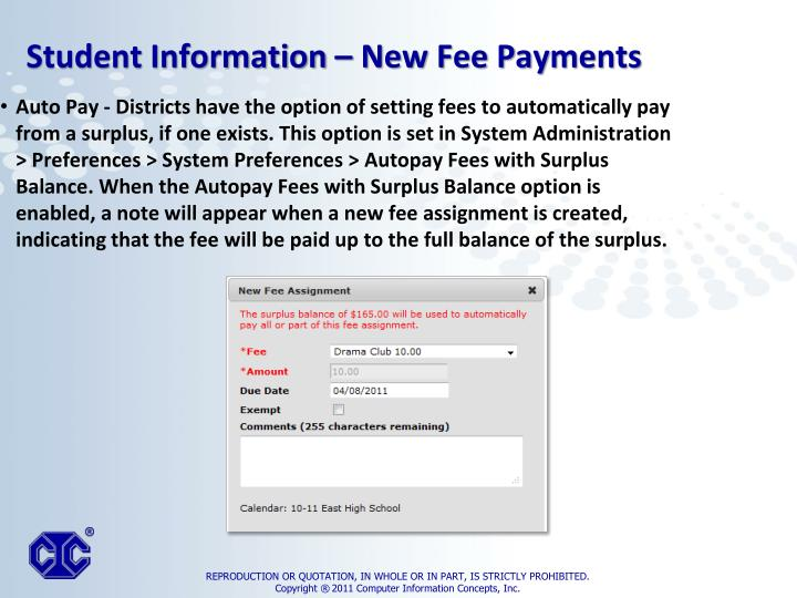Auto Pay - Districts have the option of setting fees to automatically pay from a surplus, if one exists. This option is set in System Administration > Preferences > System Preferences >