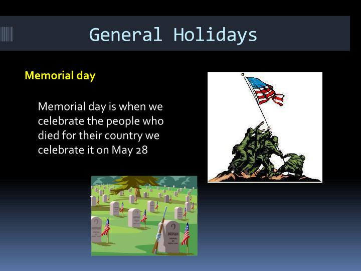 General Holidays