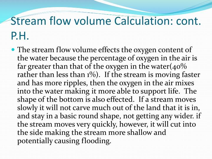 Stream flow volume Calculation: cont