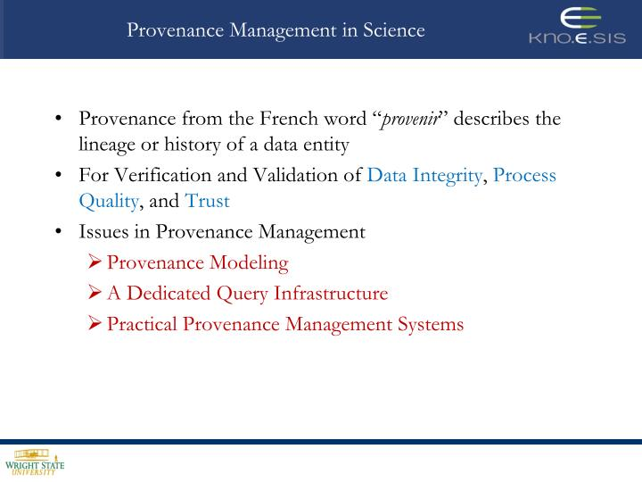 Provenance Management in Science