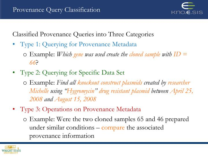 Provenance Query Classification