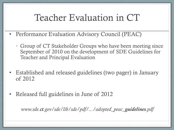 Teacher Evaluation in CT