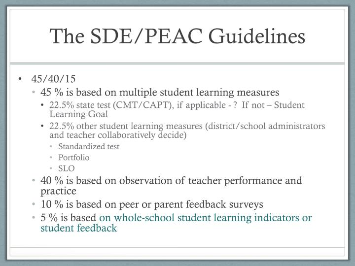 The SDE/PEAC Guidelines