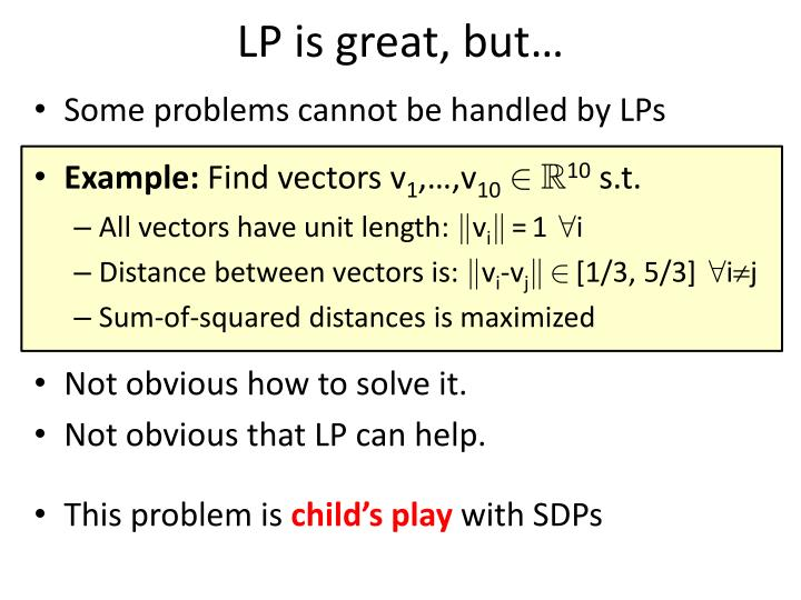LP is great, but…