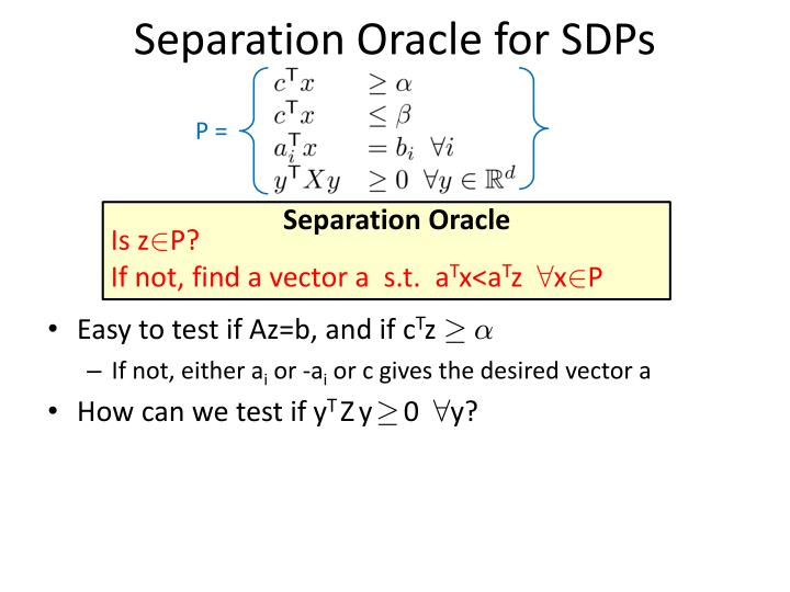 Separation Oracle for SDPs