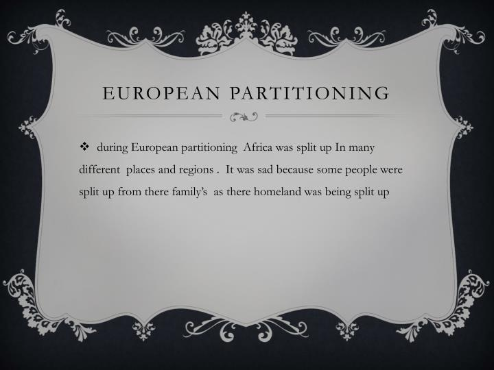 European partitioning