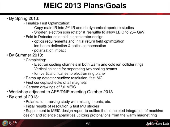 MEIC 2013 Plans/Goals