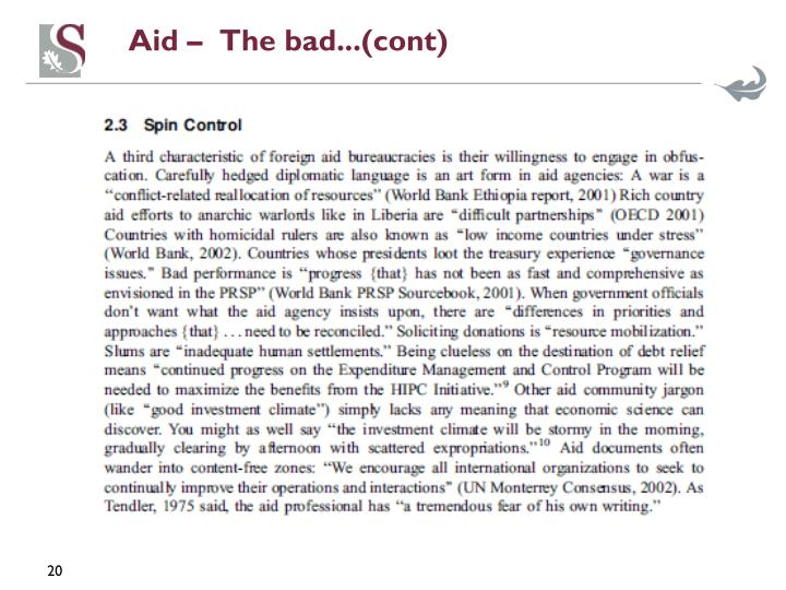 Aid –  The bad...(cont)