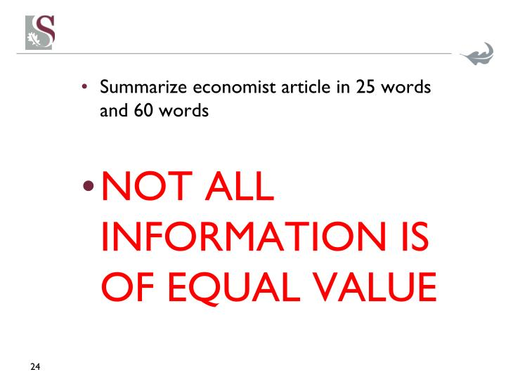 Summarize economist article in 25 words and 60 words