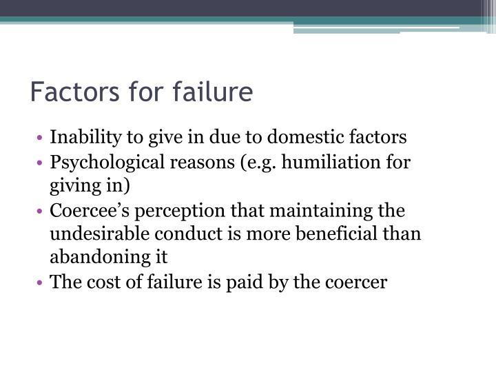 Factors for failure