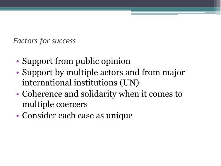 Factors for success
