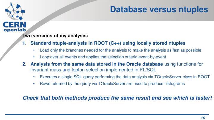 Database versus