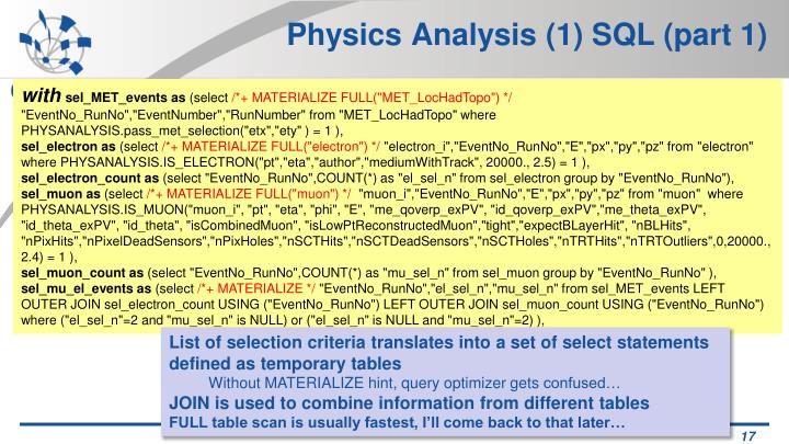Physics Analysis (1) SQL (part 1)