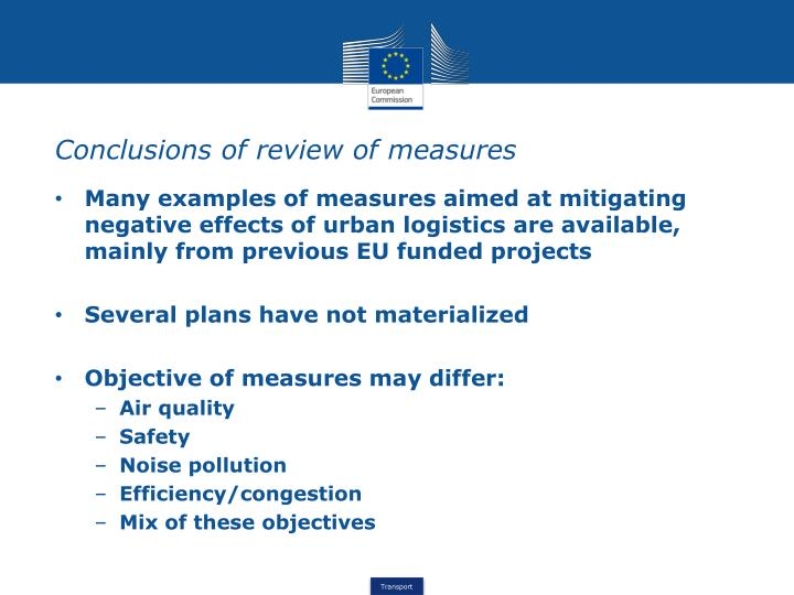 Conclusions of review of