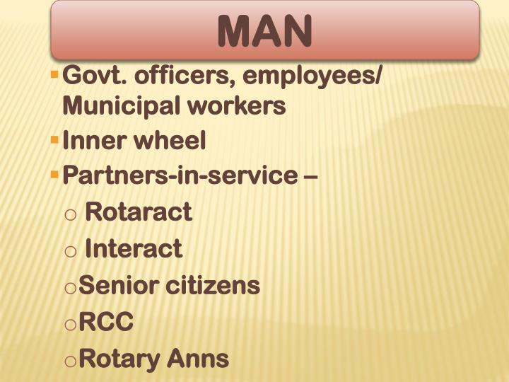Govt. officers, employees/ Municipal workers