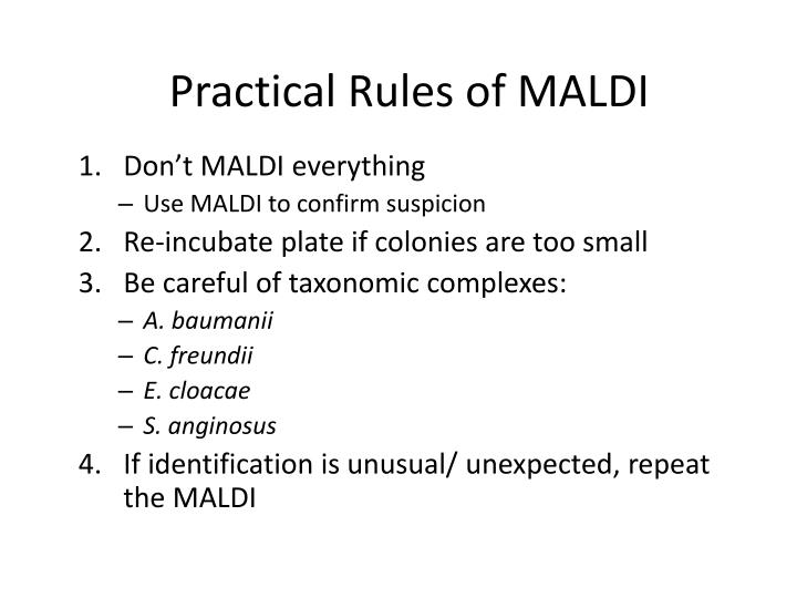 Practical Rules of MALDI