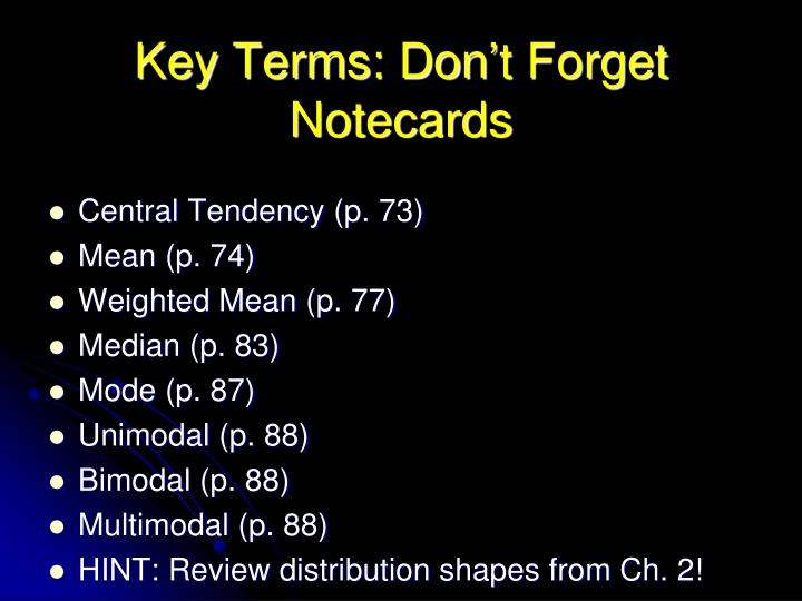 Key terms don t forget notecards