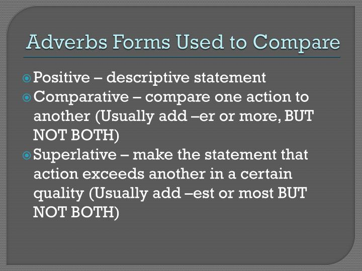 Adverbs Forms Used to Compare