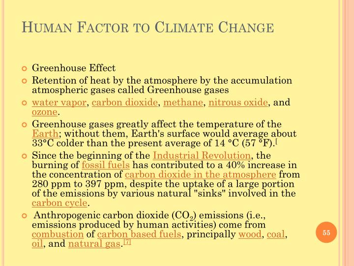 Human Factor to Climate Change