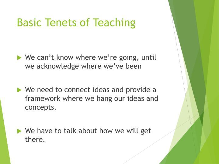 Basic Tenets of Teaching