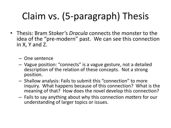 Claim vs. (5-paragraph) Thesis