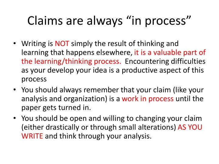 "Claims are always ""in process"""