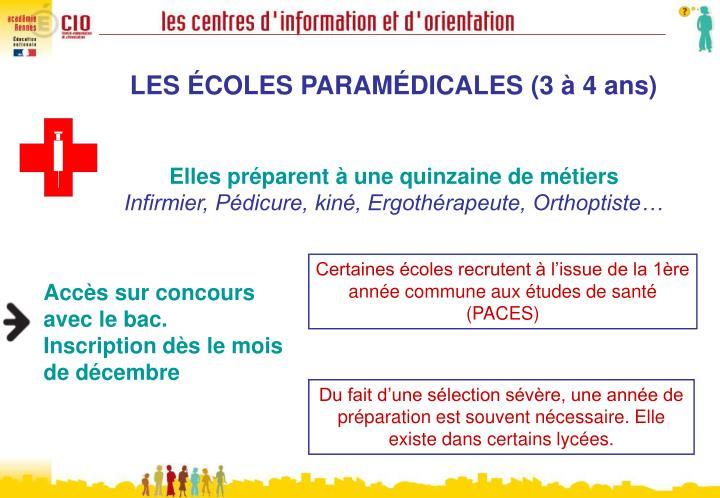 LES ÉCOLES PARAMÉDICALES(3 à 4 ans)