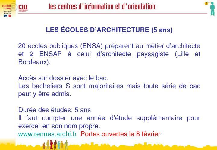LES ÉCOLES D'ARCHITECTURE (5 ans)