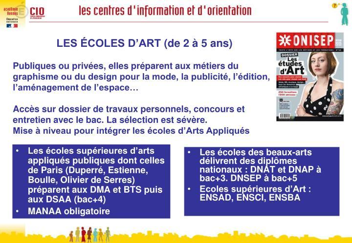 Les écoles supérieures d'arts appliqués publiques dont celles de Paris (Duperré, Estienne, Boulle, Olivier de Serres) préparent aux DMA et BTS puis aux DSAA (bac+4)