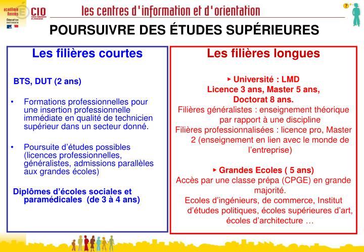 POURSUIVRE DES ÉTUDES SUPÉRIEURES