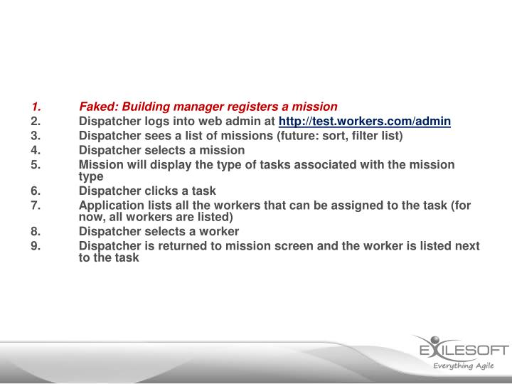 Faked: Building manager registers a mission