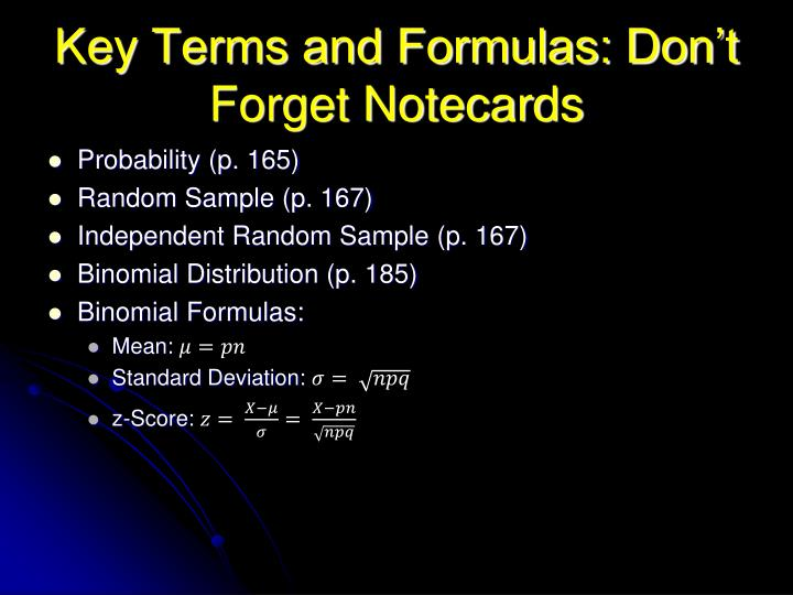 Key terms and formulas don t forget notecards