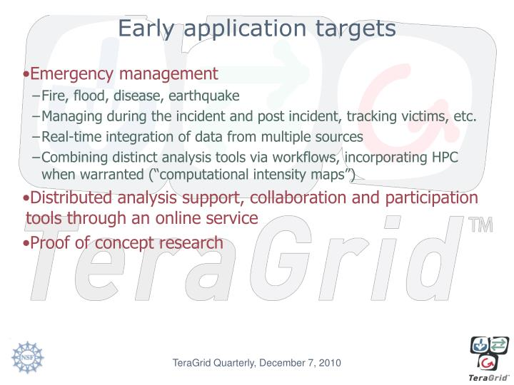 Early application targets