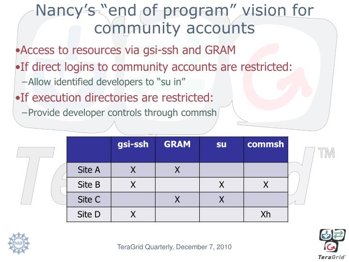 "Nancy's ""end of program"" vision for community accounts"