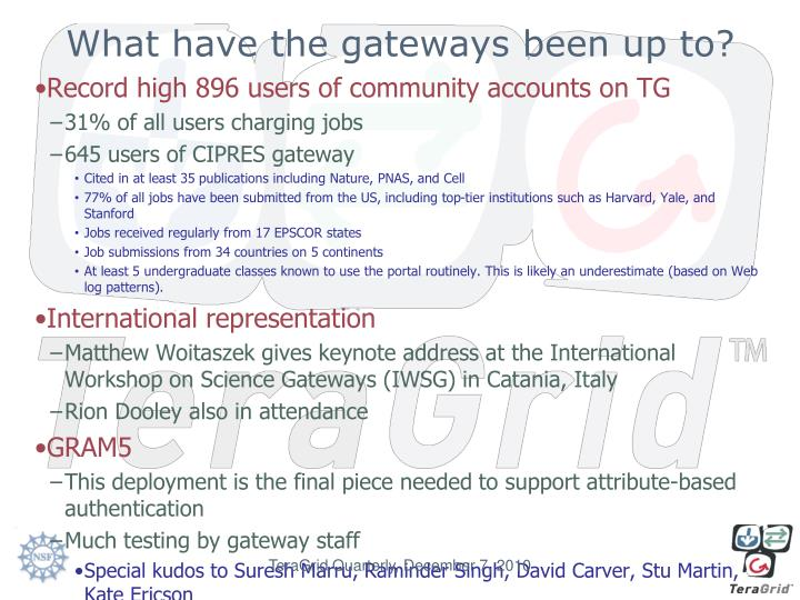 What have the gateways been up to?