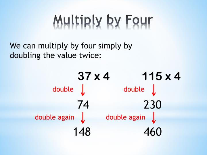 We can multiply by four simply by doubling the value twice: